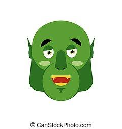 wzruszenie, szczęśliwy, potwór, emoji., isolated., twarz, zielony, wesoły, chochlik, ludożerca