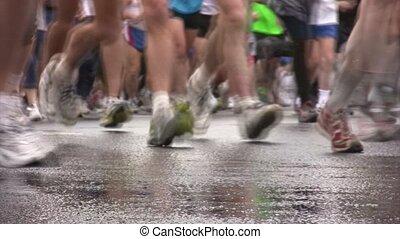xxx, marathon., moskwa, pokój, międzynarodowy, nogi, biegacze