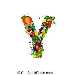 y, świeża zielenina, litera, owoce