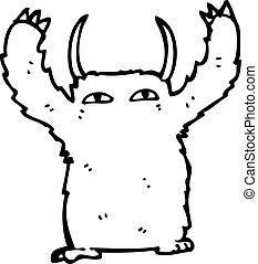 yeti, rysunek, potwór