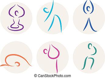 yoga, figura, ikony, odizolowany, symbolika, wtykać, biały, albo
