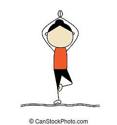 yoga, kobieta, poza, practicing, drzewo