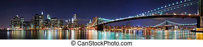 york, manhattan, panorama, miasto, most, nowy, brooklyn