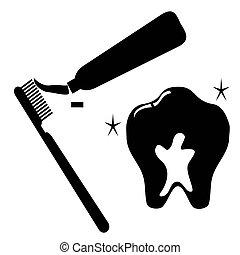 ząb, komplet, czysty, ikona