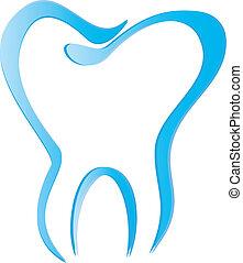 ząb, wektor, stylizowany, cienie