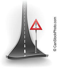 złamanie, ostrzeżenie, droga, asfalt, znak