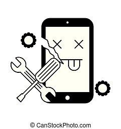 złamany, poparcie, cellphone, narzędzia, błąd