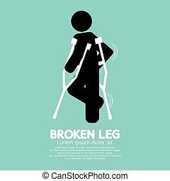 złamany, symbol, wektor, czarnoskóry, noga