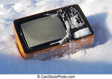 złamany, telewizor, stary, śnieg