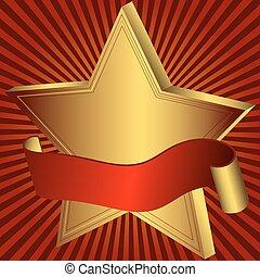 złota gwiazda, czerwona wstążka