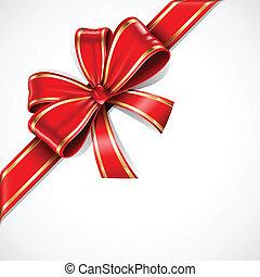 złoty, łuk daru, wektor, wstążka, czerwony