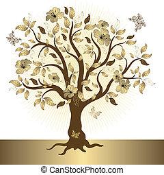 złoty, abstrakcyjny, drzewo