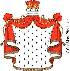 złoty, aksamit, płaszcz, królewska korona, czerwony