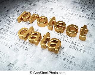 złoty, asekurować, tło, cyfrowy, bezpieczeństwo, dane, concept: