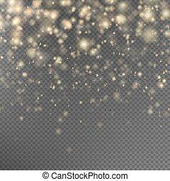 złoty, blask, cząstki, eps, effect., 10