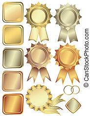 złoty, brąz, układa, komplet, srebro