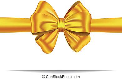złoty, dar, wstążka, łuk