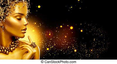 złoty, do góry, fason, biżuteria, piękno, ustalać, włosy, wzór, czarne tło, dziewczyna, woman.