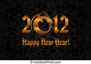złoty, dragon., rok, nowy, karta, 2012