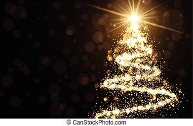 złoty, drzewo., boże narodzenie, tło
