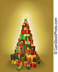 złoty, drzewo, niniejszy, ilustracja, boże narodzenie