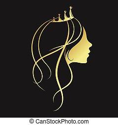 złoty, dziewczyna, korona
