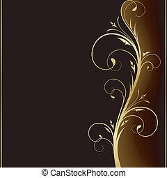 złoty, elementy, ciemny, elegancki, projektować, tło, kwiatowy