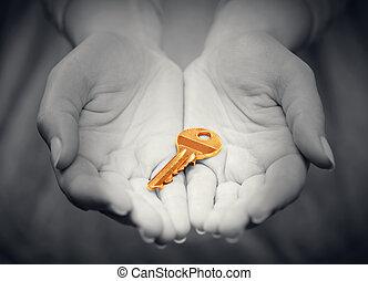 złoty, etc, handlowy, rozłączenie, klucz, babski, pojęcie, gest, giving., ręka, powodzenie, żywy, stan, prawdziwy