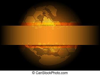 złoty, globalny, projektować, tło