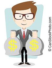 złoty, gotówka, ilustracja, torba, wektor, bankier, dollar., biznesmen, albo