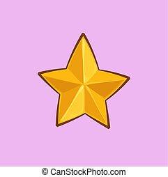 złoty, gwiazda, -, boże narodzenie, rysunek, ikona