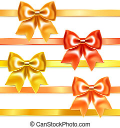 złoty, jedwab, schyla się, brąz, wstążka