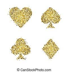 złoty, klasyczny, garnitur, odizolowany, ilustracja, symbolika, tło., wektor, icons., glitter., biały, interpretacja, karcięta.