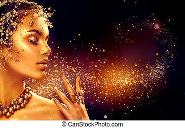 złoty, kobieta, piękno, biżuteria, makijaż, włosy, dziewczyna, skin., fason, czarne tło, złoty, wzór