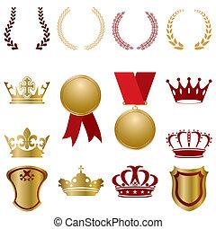 złoty, komplet, czerwony, upiększenia