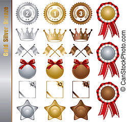 złoty, komplet, nagrody, srebro, brąz