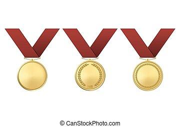 złoty, komplet, odizolowany, nagroda, tło., wektor, biały, medals