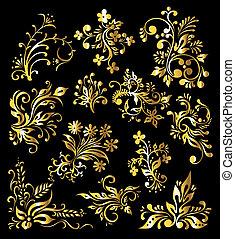 złoty, komplet, rocznik wina, ozdoba, ozdoba, elementy, kwiatowy