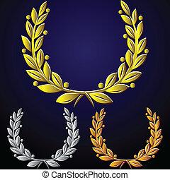 złoty, komplet, wektor, wieńce, laur, srebro, brąz