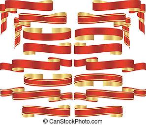 złoty, komplet, zakrętasy, akcenty, chorągiew, czerwony