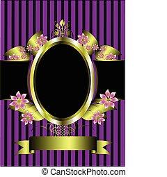złoty, kwiatowy, tło, ułożyć, purpurowy, klasyk, pasiasty