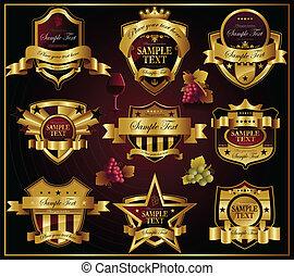 złoty, labels:, wektor, wino, alco