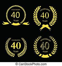 złoty, laur, rocznica, komplet, czterdziestka, lata, wieniec