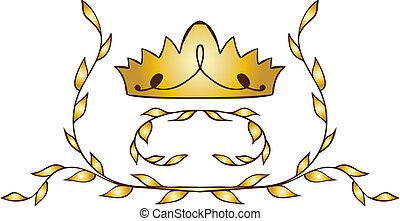 złoty, laurels, korona