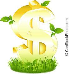 złoty, liście, dolar znaczą, zielona trawa