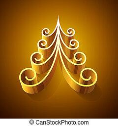 złoty, lustrzany, drzewo, boże narodzenie, 3d