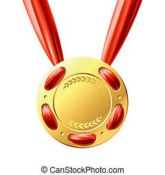 złoty medal, czerwona wstążka