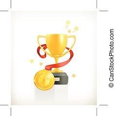 złoty, medal, filiżanka
