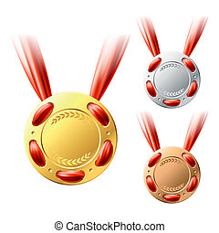 złoty, medals, srebro, brąz