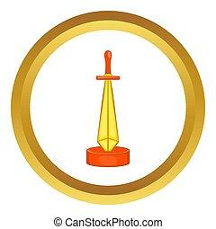 złoty, miecz, ikona, nagroda